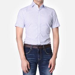 84875 No.26-A 프리미엄 체크 1/2 셔츠 (Blue)