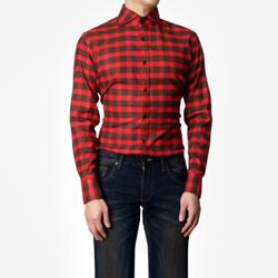 86392 No.44-a 프리미엄 깅엄 체크 기모 셔츠 (Red)