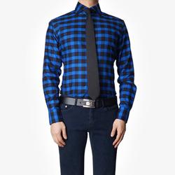 86393 No.44-a 프리미엄 깅엄 체크 기모 셔츠 (Blue)