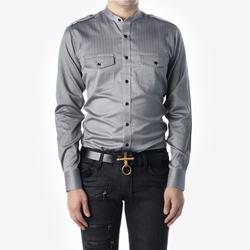 88896 No.74-A 헤링본 차이나 견장 셔츠 (Black)