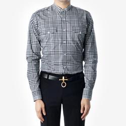 88900 No.75-A 깅엄체크 차이나 견장 셔츠 (Black/100)