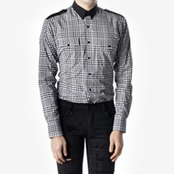 89000 No.77-A 깅엄체크 견장 셔츠 (Black/95)