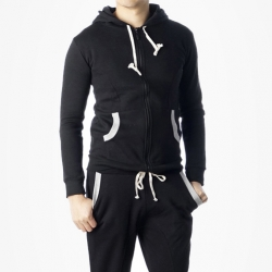 89753 투톤배색 집업 후드 티셔츠 (Black)