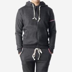 89765 3줄라인 집업 후드 티셔츠 (Dark Gray)