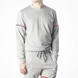 90389 3줄 배색 테이프 라운드 맨투맨 티셔츠 (Gray)