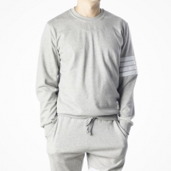 90406 TH 4줄 배색 테이프 라운드 맨투맨 티셔츠 (Gray)