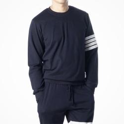 90413 TH 4줄 배색 테이프 라운드 맨투맨 티셔츠 (Navy)
