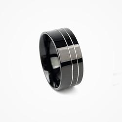 54640 2라인 실버 포인트 링 (Black)