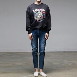 95937 칼라거펠트 프린팅 락스타일 맨투맨 티셔츠 (Black)