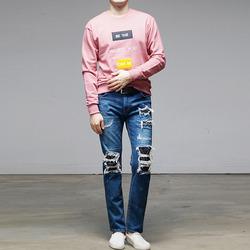 95952 사각 타이포 패치 맨투맨 티셔츠 (3Color)