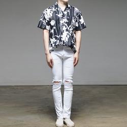 97849 기하학 패턴 하와이안 하프 셔츠 (3Color)
