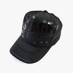 98516 입체 스테이지 타이포 스트라이프 메쉬 캡 (Black)