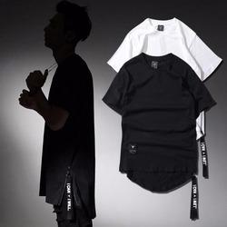 98558 미니멀 사이드지퍼 트임 하프 티셔츠 (2Color)