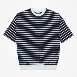 98886 오버 시보리 단가라 하프 티셔츠 (2Color)