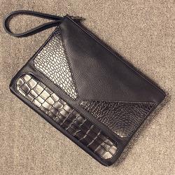 99085 버라이어티 레더 배색 클러치백 (Black)