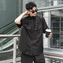 100040 미니멀 비죠라인 셔츠 (Black)