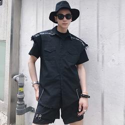100049 피어싱 디스트로이드 논슬리브 셔츠 (Black)