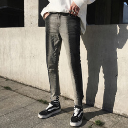 100050 VE 언발란스 컷팅 투톤배색 데님 팬츠 (Gray+Dark Gray)