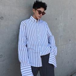 100054 스트라이프 라인 유니크 슬리브 셔츠 (2Color)