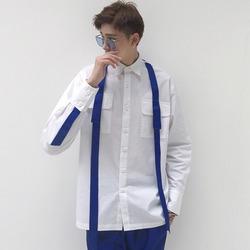 100068 체스트 더블포켓 서스펜더 셔츠 (White)