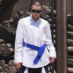 100071 미니멀 라인 벨티드 셔츠 (White)