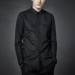 99832 체스트 X라인 히든버튼 셔츠 (Black)
