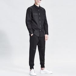 99836 지오매트리 소매자수 체스트 지퍼라인 셔츠 (Black)