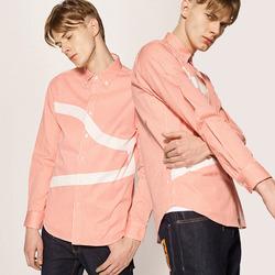 99878 지오매트리 라인 스트라이프 셔츠 (Pink)