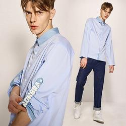 99891 배색카라 소매 타이포 롤업 셔츠 (Sky Blue)