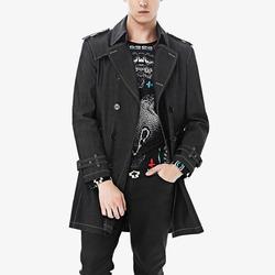 100308 스티치 라인 더블 데님 트렌치 코트 (Black)