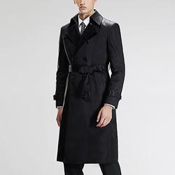 100321 미니멀 베이직 라인 더블 트렌치 코트 (Black)