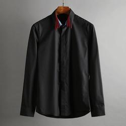 100371 SA 성조기 카라 자수 히든버튼 셔츠 (2Color)