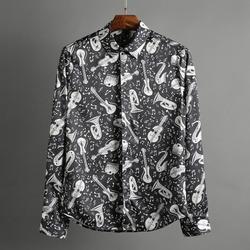 100372 빅밴드 뮤직 패턴 셔츠 (Black)