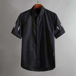 100375 NE 썬더라인 소매 히든버튼 하프 셔츠 (2Color)