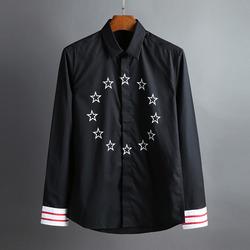 100385 GI 체스트 스타서클 히든버튼 셔츠 (Black)