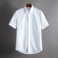 100390 GI 쉐도우 네크라인 별자수 히든버튼 하프 셔츠 (White)