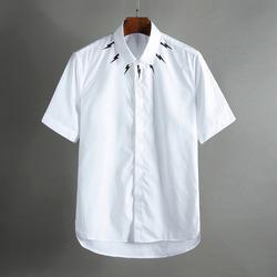 100392 미니멀 네크라인 히든버튼 하프 셔츠 (White)