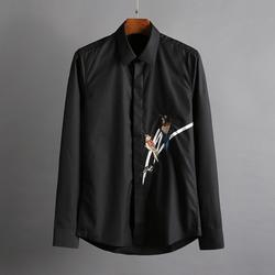 100395 버드자수라인 히든버튼 셔츠 (2Color)