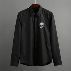 100396 체스트 스컬자수라인 히든버튼 셔츠 (2Color)