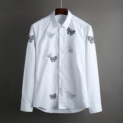 100405 버터플라이 자수 히든버튼 셔츠 (White)