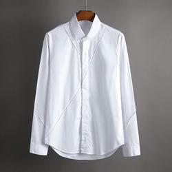 100420 절개라인 히든버튼 셔츠 (White)