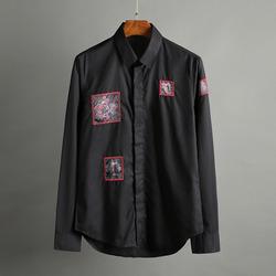 100422 플라워 프레임 패치 히든버튼 셔츠 (2Color)