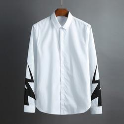 100435 NE 썬더라인 소매 히든버튼 셔츠 (White)
