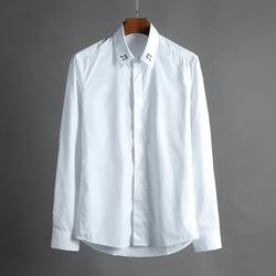 100436 음표 자수라인 히든버튼 셔츠 (White)