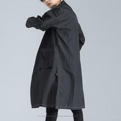 100483 스티치라인 싱글 트렌치 코트 (Black)