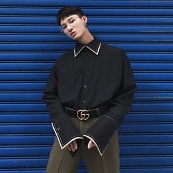 100504 배색 라인 와이드 소매  셔츠 (Black)