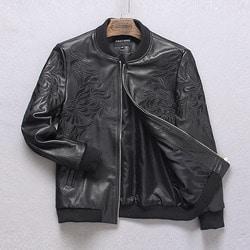 100551 기하학 자수라인 레더 블루종 점퍼 (Black)