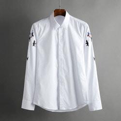 100563 AC 버드 소매 자수라인 히든버튼 셔츠 (2Color)