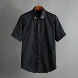 100582 미니멀 패치 카라 히든버튼 셔츠 (2Color)