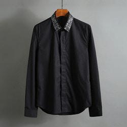 100583 미니멀 큐빅카라라인 히든버튼 셔츠 (2Color)